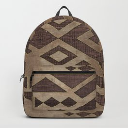 Ethnic Geometric Wooden texture pattern Backpack