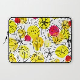 Pineapple Upside Down Floral: Bright Paint Spots with Black Ink Floral Elements Laptop Sleeve