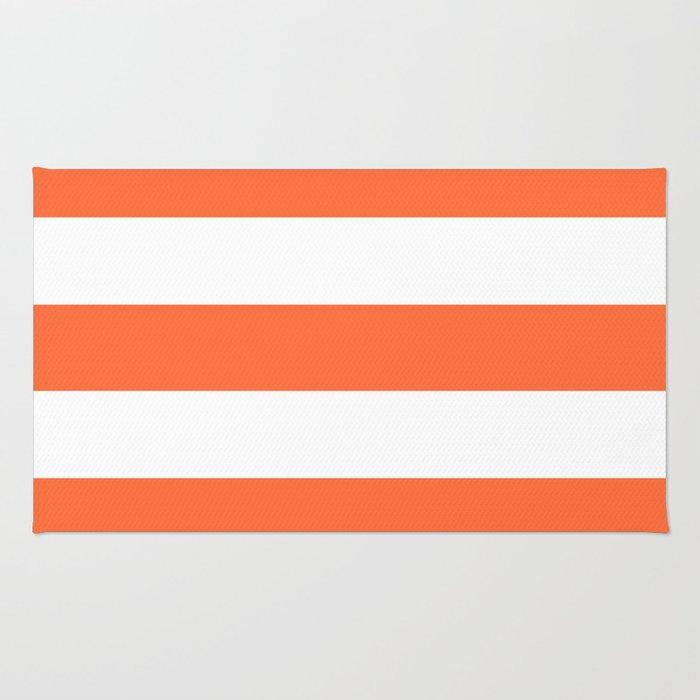 Smashed Pumpkin - solid color - white stripes pattern Rug