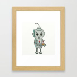 The feeling when your cute little robot brings you a cupcake in the morning :) Framed Art Print