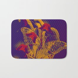 Red radioactive butterflies in glowing landscape Bath Mat