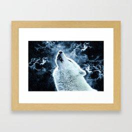 A howling wolf in the rain Framed Art Print