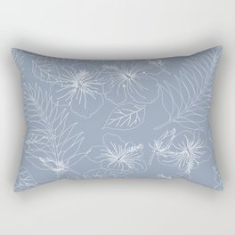 Seamless Exotic Hibiscus Tropical Palm Leaves Rectangular Pillow