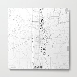 Amite Map Gray Metal Print