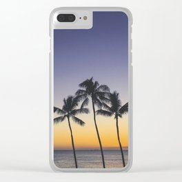Palm Trees w/ Ombre Tropical Sunset - Hawaii Clear iPhone Case