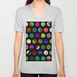 Eclectic Circles - Abstract collage of random, colourful, bold, eclectic circles Unisex V-Neck