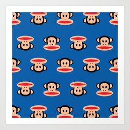 Julius Monkey Pattern by Paul Frank - Dark Blue Art Print