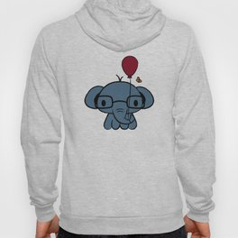 cute elephant with glasses holding a balloon Hoody