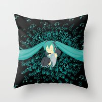 vocaloid Throw Pillows featuring MikuMiku2 by gohe1090