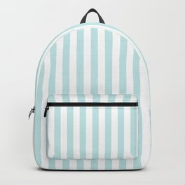 Duck Egg Pale Aqua Blue and White Wide Thin Vertical Deck Chair Stripe Backpack