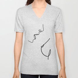 Boobs Lovers, Intimate Couple In Sexual Intercourse, Romantic Young Man And Woman In Love  Unisex V-Neck