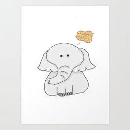 Elephant Wants Peanuts Art Print