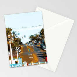 road to the pier with palm tree at Manhattan Beach, California, USA Stationery Cards