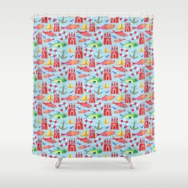 hamburg watercolor pattern Shower Curtain