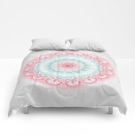 Teal & Coral Glow Medallion Comforters