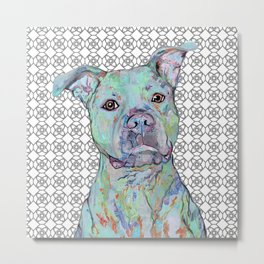 Staffy Portrait Metal Print
