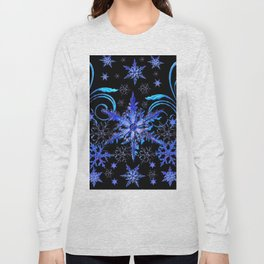 DECORATIVE BLACK & BLUE WINTER SNOWFLAKE FANTASY ART Long Sleeve T-shirt