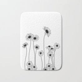 Minimal line drawing of daisy flowers Bath Mat