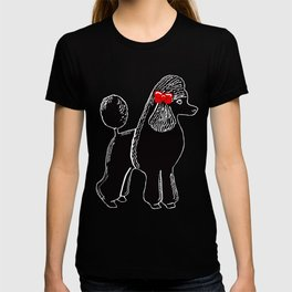 Black Standard Poodle with a Red Bow T-shirt