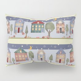 Kids patchwork seamless pattern with houses and trees Pillow Sham