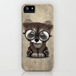 Cute Nerdy Raccoon Wearing Glasses iPhone Case