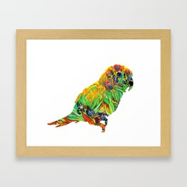 Iris By Van Gogh On Parrot By Annie Zeno Framed Art Print