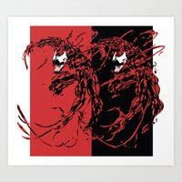 carnage Art Prints featuring Carnage by Young Jake