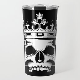 horned and crowned skull illustration Travel Mug