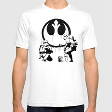 Banksy Troopers White Mens Fitted Tee SMALL