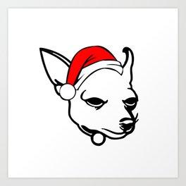 Chihuahua Dog with Christmas Santa Hat Art Print