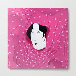 Girly Japanese Geisha Illustration Pink Pattern Metal Print