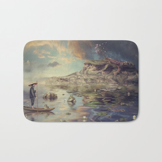 Chinese boat in the mist Bath Mat