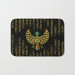 Egyptian Horus Falcon gold and color crystal Bath Mat