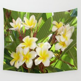 White and Yellow Frangipani Flowers with Leaves in Background  Wall Tapestry