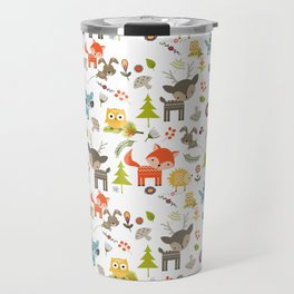 Cute Woodland Creatures Pattern Travel Mug