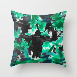 psychedelic vintage camouflage painting texture abstract in green and black Throw Pillow