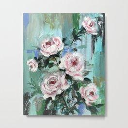 Teal pink roses in acrylic Metal Print