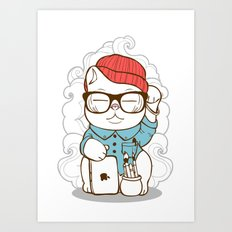 Hipster Kitty Art Print