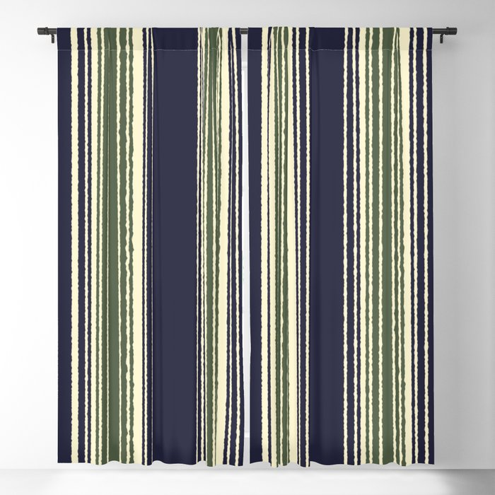 Navy Blue And Sage Green Stripes Blackout Curtain By Hellcom