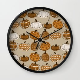 Pumpkin Party in Almond Wall Clock