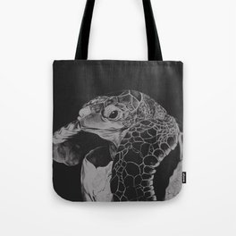 Hatching turtle in black and white Tote Bag