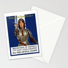 Joan of Arc Saved France - World War I Poster Stationery Cards