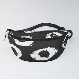 Painted Circles White on Black Fanny Pack