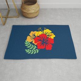Vintage Hawaiian Tropical Flowers Rug
