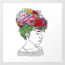 Flowered Hair Girl 2 Art Print