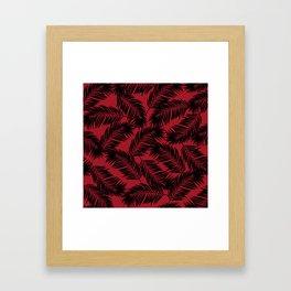 Palm Frond Tropical Décor Leaf Pattern Black on Red Framed Art Print