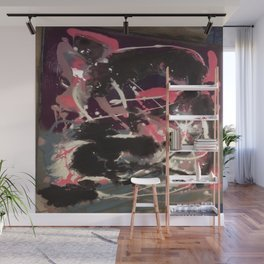 Pink and Black Original Abstract Painting by JodiLynpaintings. Splatter Abstract Pink Black Wall Mural