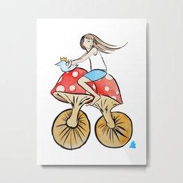 Mushroom Bike Metal Print