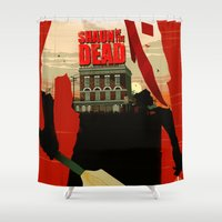 shaun of the dead Shower Curtains featuring Shaun Of The Dead by Duke Dastardly