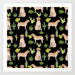 Labrador Retriever yellow lab cute cactus southwest pet portrait dog breed desert Art Print